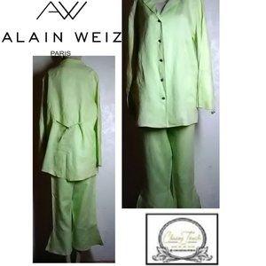 Alain Weiz NWOT Lt Green Ramie Crop Pant Suit Size
